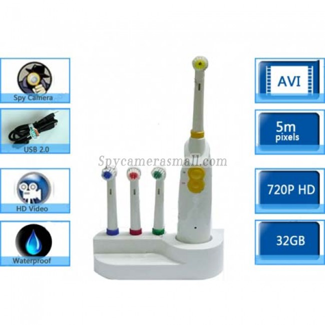 Toothbrush Hidden Spy Camera - HD Bathroom Spy Cams Spy Toothbrush Pinhole Camera DVR 1280x720 32GB