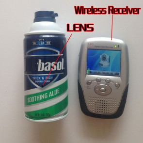 Wireless Camera in Shaving Cream With Long Range Transmitter And Portable 2.4GHZ wireless Motion Detection Receiver